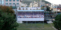 A large scale print of local people in Busan, South Korea.